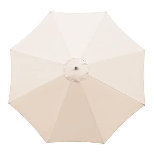 SMLJFO Parasol de repuesto para sombrilla de 8 varillas de 10 pies de mercado, toldo impermeable y antiultravioleta, tela de reemplazo/beige