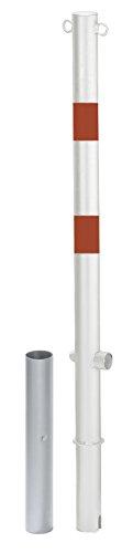 Preisvergleich Produktbild GAH-Alberts 781415 Absperrpfosten Passau - herausnehmbar,  zum Einbetonieren,  Dreikantschloss,  weiß mit roten Ringen,  2 Ösen,  Ø60 / 1000 mm