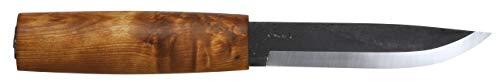 Helle Erwachsene Dreilagen-Carbonstahl Messer, Modell Viking, geölter Birkenholzgriff, braune Köcher-Lederscheide Jagd-/outdoormesser, Carbon Steel, 22.0 cm