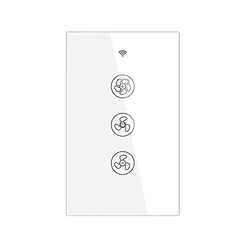 LIZONGFQ Zhang Asia WiFi RF433 Interruptor de Ventilador de Techo Inteligente Smart Life/Tuya App 2/3 Way Control Wireless Remote Control Works con Alexa y Google (Color : Black)