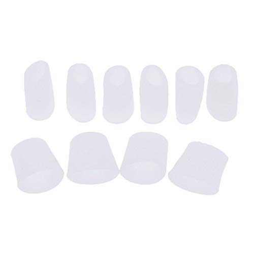 SDENSHI 5 Pairs Silicone Toe Tube Sleeves Cushions Protectors for Feet Corn Eye Care - White, as described