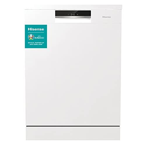 Hisense HS661C60W - Lavavajillas Libre Instalación, Capacidad para 16 Servicios, 3 Cestas, Blanco, 60 cm, 5 Programas, Filtro Autolimpiable, Contador Digital con Programa Ecológico, Silencioso
