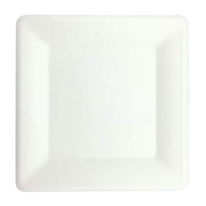 Plato ecológico biodegradable   Cuadrado   Blanco   Fibras