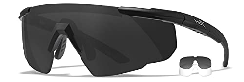 Wiley X Saber Advanced Shooting Glasses, Safety Sunglasses for Men and Women, UV and Eye Protection for Hunting, Fishing, Biking, and Extreme Sports, Matte Black Frames, Changeable Lenses, Ballistic Rated