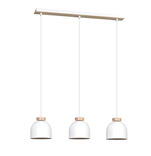 Pendelleuchte für Esstisch Weiß Metall Holz Skandinavisch rund DOM Wohnzimmer Esszimmer Lampe