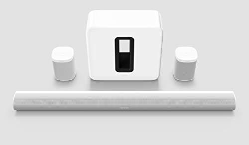 Sonos Arc Heimkino Surround Set | enthält Arc Soundbar + Sub + 2x One SL, weiß – Elegante Premium Soundbar für mitreißenden Kino Sound – Dolby Atmos, Apple AirPlay2, Sprachsteuerung