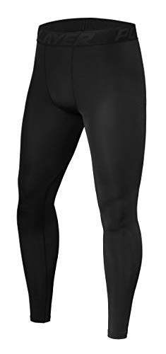 PowerLayer Boys' Youth Compression Base Layer Running Leggings/Tights - Black Stealth, 10-12 Years (Boys Large)