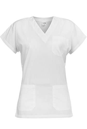 B-well Leone Casacas Sanitarias Mujer Manga Corta Cuello V para Enfermeras, Dentistas, Médicos, Estudiantes y Veterinarios Blanco M