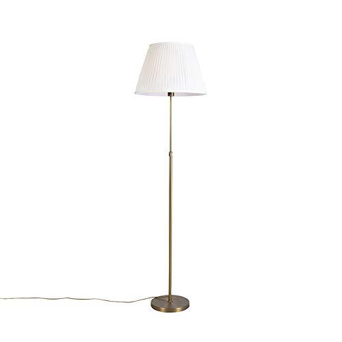 QAZQA Rústico Lámpara de pie bronce pantallaplisada crema 45cm ajustable - PARTE Acero/Textil Cilíndra/Alargada/Redonda Adecuado para LED Max. 1 x 60 Watt