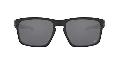 Oakley Men's OO9262 Sliver Rectangular Sunglasses, Matte Black/Black Iridium, 57 mm