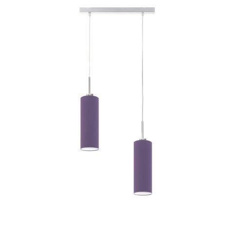 Madera - Lámpara de techo (marco de acero cepillado), color lila