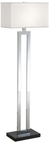 Artiva USA A308103FC Geometric/Contemporary Design Contrast Floor Lamp with Rectangular Hardback Shade, 60″, Chrome/Black
