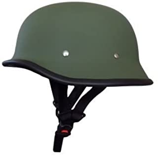Ezip German Retro Style Matty Green Half Helmet World War Inspired Free Size for Royal Enfield Bullet 350