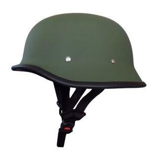 Ezip German Retro style Matty Green Half Helmet World War Inspired Free Size For Bajaj Avenger Street 150