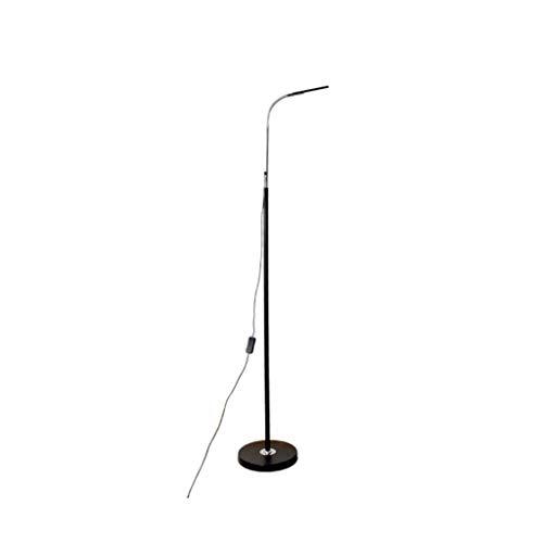 Lámparas de Pie Lámpara moderna simple interruptor Lámpara de control por cable Negro de aleación de aluminio LED Bead Ring Protection ojo Chapado de la manguera se puede ajustar de 55' Lámpara de Pis