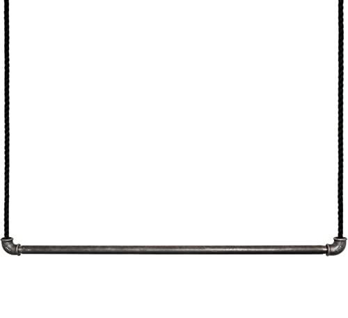 Craftwerk11 Raw - Perchero colgante de tubo de metal con cuerda de vela para colgar en el techo, estilo vintage industrial, sin revestimiento, altura regulable (57 cm)