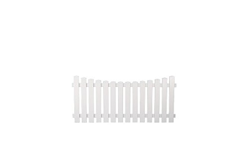 meingartenversand.de 5 x Kunststoff-Gartenzaun/Garten-Zaun aus Kunststoff weiß im Maß 180 x 80 auf 70 cm - Tiefbogen - (Breite x Höhe) München aus UV-beständigen Fensterkunststoff als Set
