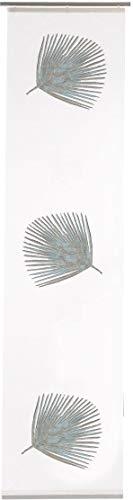 Cortina corredera con diseño de hojas de palmera, incluye accesorios de fijación, cinta de velcro semitransparente, alto x ancho 245 x 60 cm, color blanco y azul