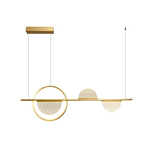 LONSTAII Dorado Luces Colgantes Mesa de Comedor Led Moderna suspensión Lámpara de Techo Restaurante Cobre Lámpara Colgante Acrílica Decorativa Diseño Luz Pendiente Regulable L95CM