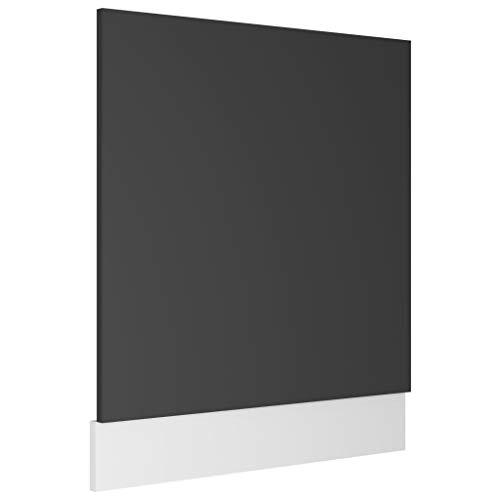 vidaXL Geschirrspülerblende mit Sockelleiste Geschirrspüler Frontblende Geschirrspülerfront Blende Spülmaschine Grau 59,5x3x67cm Spanplatte