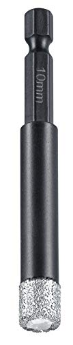 kwb Diamant Fliesen-Loch-Bohrer für Bohrmaschinen, Lochsäge mit E 6.3-Aufnahme, Diamont-Bohrkrone Durchmesser 10 mm