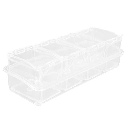 Caja de almacenamiento de condimentos Ollas de especias Contenedor de almacenamiento Frasco de condimentos con tapa y cuchara para sal monosódica