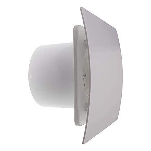 Vent Systems Ventilador de baño de 100 mm de diámetro – Panel frontal blanco – Ventilador de techo – Ventilador de pared frontal – Ventilador de baño – Ventilador empotrable – 10 cm/4 pulgadas
