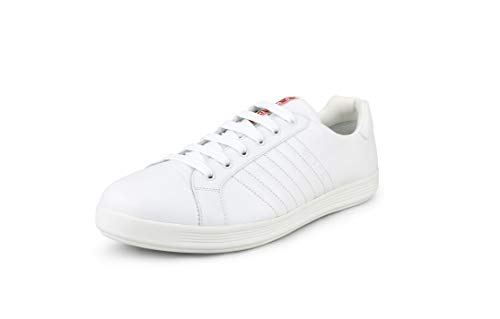 Prada Vitello Herren-Sneaker, Kalbsleder, niedrig, Weiß (Bianco), Weiá (Weiß (Bianco)), 46.5 EU
