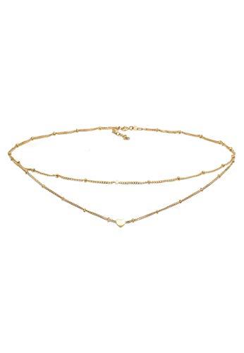 Elli Collares Mujer Corazón de Gargantilla de Plata Esterlina 925