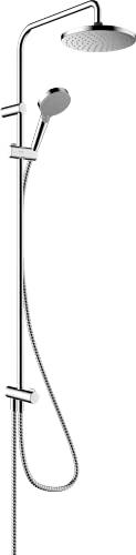 hansgrohe Duschsystem Vernis Blend Reno, Brausekopfgröße 205 mm, Duschset mit/inkl. Umsteller, Duschkopf, (Dusch-)Schlauch, Brausestange, Regendusche mit 1 Strahlart, geeignet zur Renovierung, Chrom