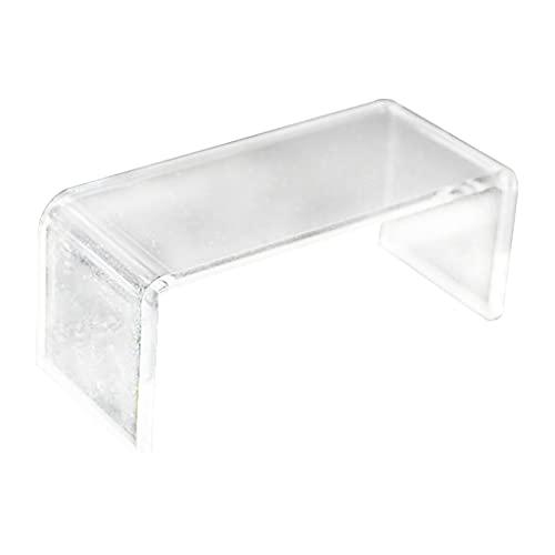 SunniMix Mesa de Centro de té acrílico Transparente / Escritorio Modelo en Miniatura 1:12 Escala Accesorio de muñeca Sala de Estar decoración Artesanal Escena - Blanco