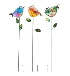 "multi-color glass birds on 36"" stakes - garden decor"