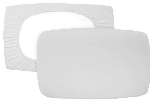 Home Edition 2er Pack Spannbezug für Nackenstützkissen Baumwolljersey (mit Elasthan) 36x50 bis 36x60 cm (Silbergrau)