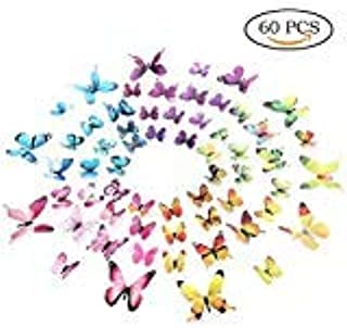 Amaonm 60 Pieces 5 Colors Removable 3D Butterfly Wall Decals 3D DIY Butterflies Art Wall Stickers Decor for Kids Girls Bedroom Nursery Room Purple Pink Blue Yellow Green Butterfly Sticker for Walls