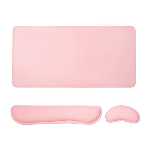 3 in 1 Desk pad for Keyboard and Mouse 800x400 mm pu Leather Pink Desk pad & Ergonomic Memory Foam Keyboard Wrist Rest Support & Pink Wrist Rest, Suitable for Laptop Office Online Learning, Pink