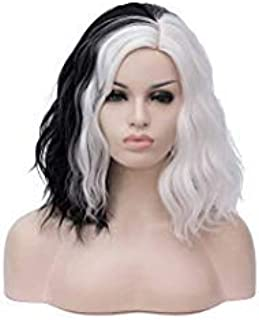 Alacos Fashion 35cm Short Curly Full Head Wig Heat Resistant Daily Dress Carnival Party Masquerade Anime Cosplay Wig +Wig Cap (White/Black)