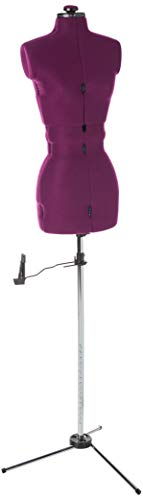 """Dritz 20300 My Double Dressform with Tri-Pod Stand Adjustable Up to 63"""" Shoulder Height, Large, Plum"""
