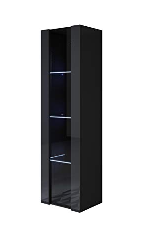 muebles bonitos Vitrina Modelo Luke V5 (40x165cm) Color Negro