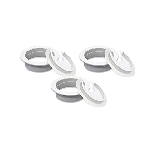 JANEMO 3 Pcs Desk Wire Hole Insert,2 Inch Mounting Desk Hole Gromment,Use for Organize The Wires from Computer Desks,PC Peripheral,Office Equipment,White