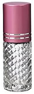 4 Bottles Fancy Large 30ml Roll On Empty Glass Bottles for Essential Oils Refillable 1 Oz Glass Roller Ball Roll-On 30 ml Clear Swirled Glass with Upscale Pink Aluminum Caps by Grand Parfums