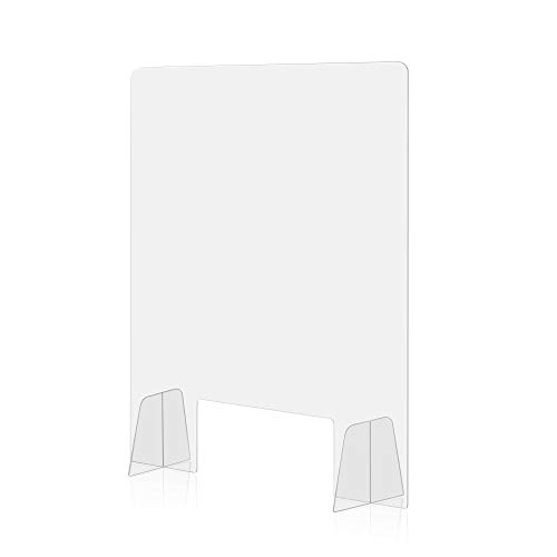 [ 24'W x 36'H ] Plexiglass Sneeze Guard Partition | Clear Acrylic Shield with Oversized Legs for Superior Stability | Hand Opening for Safe Counter and Desk Transactions