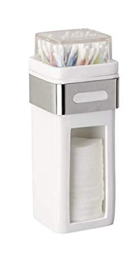 WENKO Wattepad- und Ohrstäbchenhalter Premium Plus - Wattepadspender, Wattestäbchenhalter, Edelstahl rostfrei, 7.5 x 18.5 x 9 cm, Glänzend
