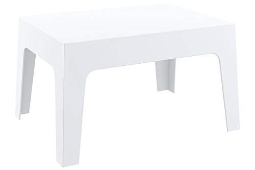 CLP Table Basse de Jardin Box en Plastique -Table d'Appoint pour Usage Extérieur Empilable - Hauteur 43 cm Résistante aux Intempéries et aux Rayons UV - Couleurs: Blanc