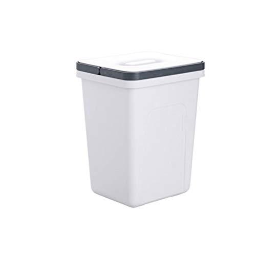 HMEI De Largo Tubo de plástico Cubos de Basura de Interior, con Asas, 2.6 galones de Capacidad, for el baño, la Cocina, Estudio, Blanco Resistente a los Golpes Bote de Basura Reciclaje