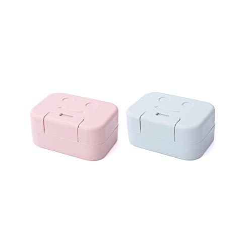 hkwshop Jaboneras Holder Jabonera portátil con Tapa, Caja de jabón sellada de Viaje Simple, Caja de Ahorro de jabón de plástico con diseño de Hebilla es Hermoso y práctico Caja de jabón