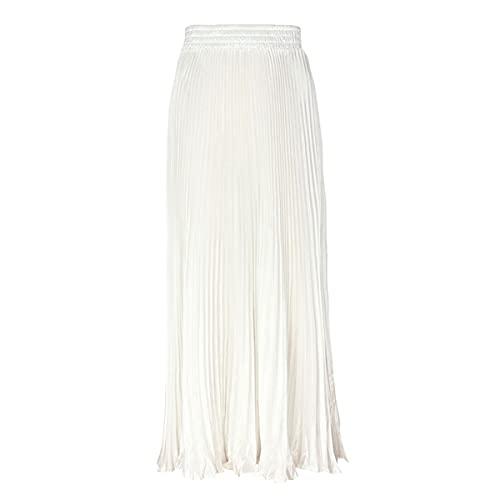 ebossy Womens Elastic High Waist Pleated Satin Maxi Skirt Elegant Flowy Swing A Line Long Accordion Skirts (One Size, White)