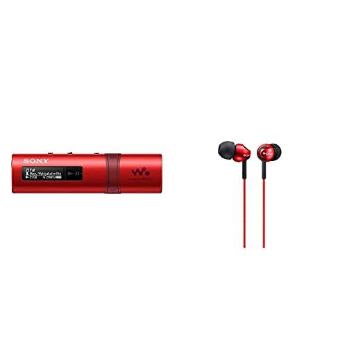 Sony NWZ-B183R Walkman (4GB Speicher, USB) rot & MDR-EX110LPR geschlossene In Ear Kopfhörer rot