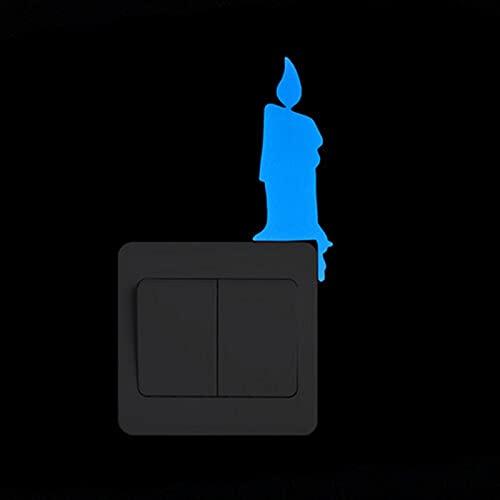 QWEP Pegatina de Interruptor de luz Etiquetas de Pared Luminosa Resplandor en la Etiqueta Oscura Calcomanía de la Sala Decoración de la habitación Decoración del hogar (Color : 010 Burning Candle)