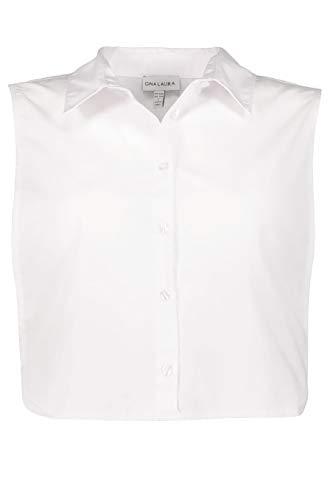 GINA LAURA Damen bis 3XL, Blusenkragen zum Unterziehen, seitlicher Gummizug, Knopfleiste, weiß XXL 717300 20-XXL