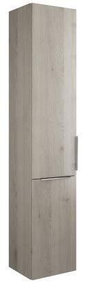 Burgbad Eqio hoge kast met 1 deur en 1 wasmand, deurscharnieren links, breedte: 350 mm, Kleur (voorzijde/karkas): Eikenhouten decorflanel/eiken decorflanel, handvat G0146 - HSFC035LF2632G0146